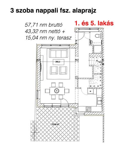1. és 5. lakás földszint alaprajz