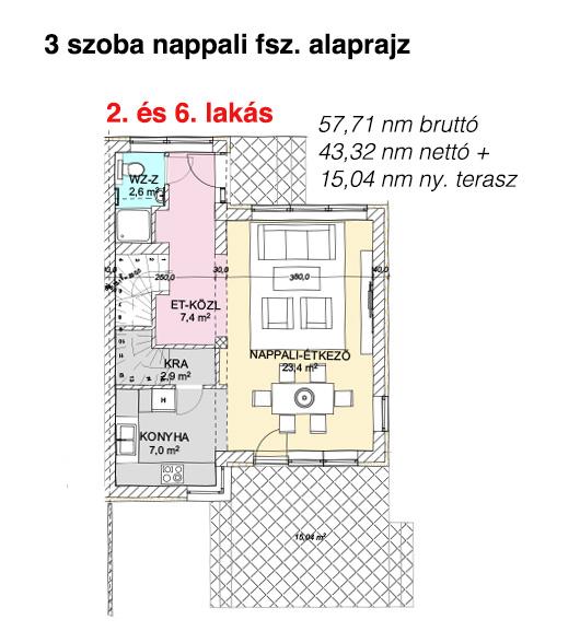 2. és 6. lakás földszint alaprajz